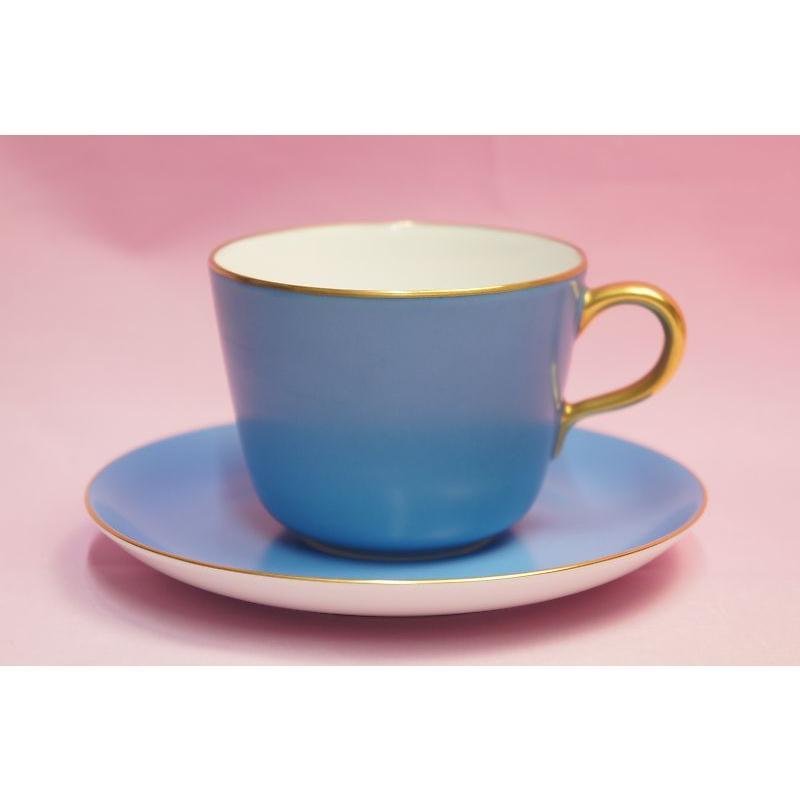 大倉陶園 モーニング碗皿(ブルー蒔き) shokki