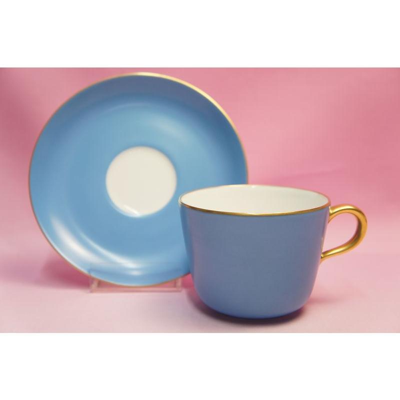 大倉陶園 モーニング碗皿(ブルー蒔き) shokki 06