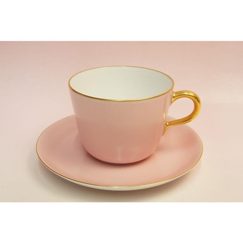 大倉陶園 モーニング碗皿(ピンク蒔き)|shokki