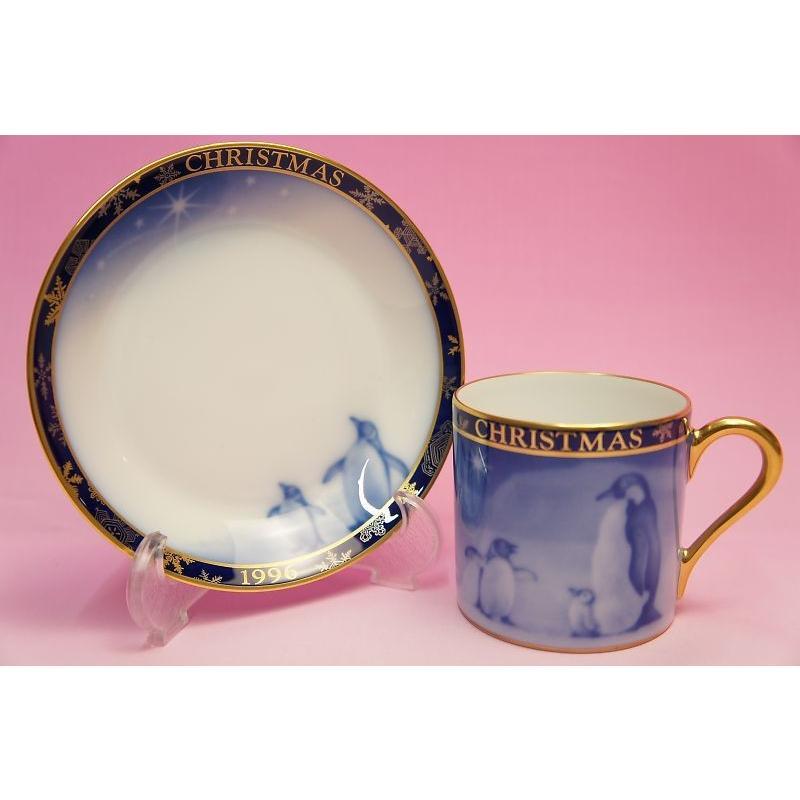 大倉陶園1996年クリスマス碗皿「ペンギン」 shokki 03