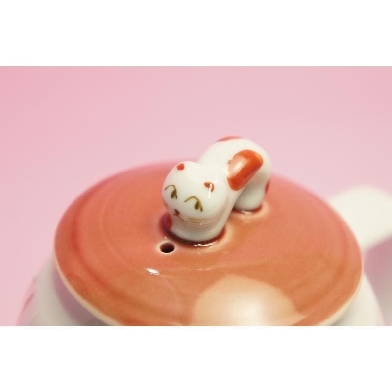 十草ねこ ポット(赤)|shokki|02