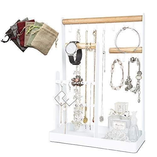 Calife 北欧インテリア ジュエリー収納アクセサリースタンド 6枚巾着袋贈り ツリー型ホルダー ネックレス・イヤリング・ブレスレット・腕時計・シュ shokolaballet
