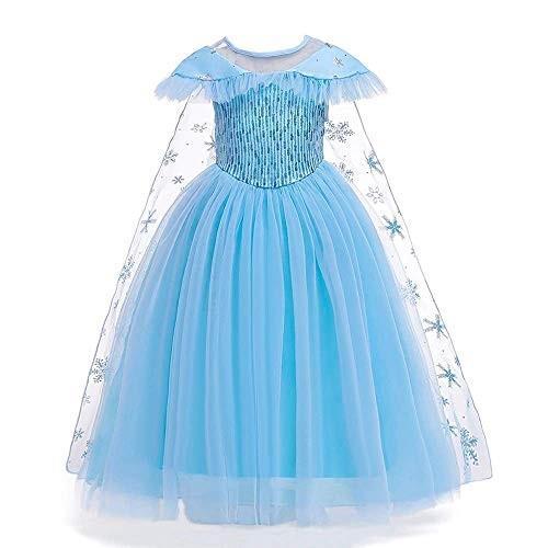 女の子用 アナ雪 エルサ 風 コスチューム ケープ付2点セット ワンピース ドレス (110cm)|shokolaballet