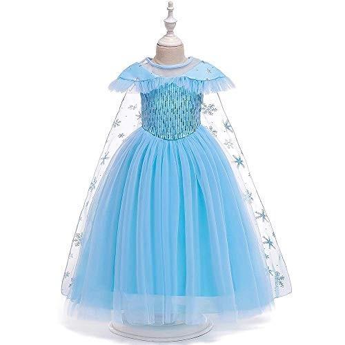 女の子用 アナ雪 エルサ 風 コスチューム ケープ付2点セット ワンピース ドレス (110cm)|shokolaballet|02