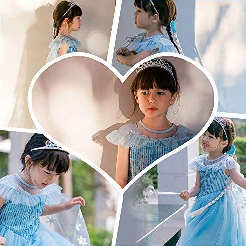 女の子用 アナ雪 エルサ 風 コスチューム ケープ付2点セット ワンピース ドレス (110cm)|shokolaballet|03
