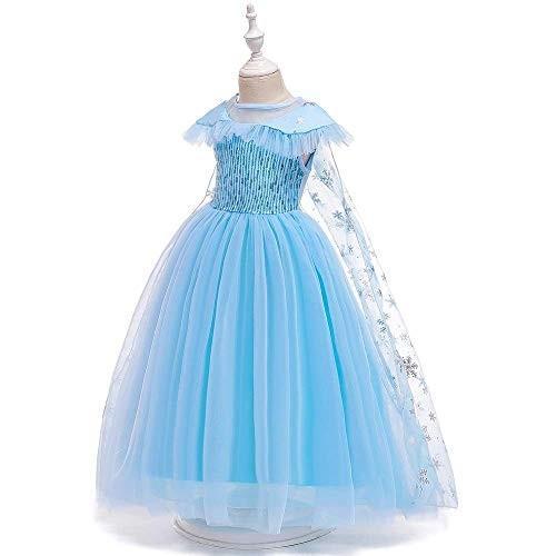 女の子用 アナ雪 エルサ 風 コスチューム ケープ付2点セット ワンピース ドレス (110cm)|shokolaballet|04