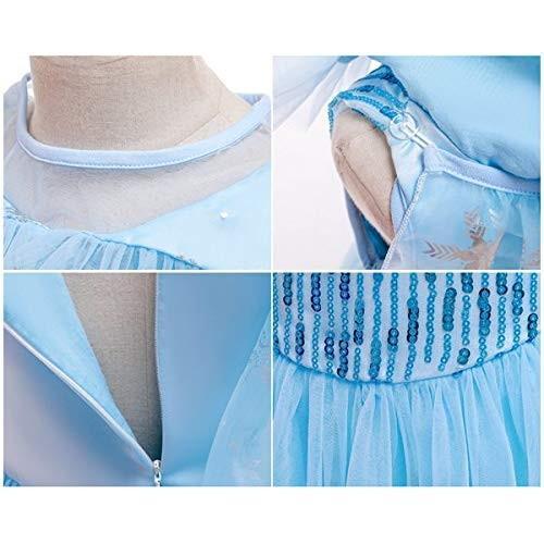 女の子用 アナ雪 エルサ 風 コスチューム ケープ付2点セット ワンピース ドレス (110cm)|shokolaballet|07