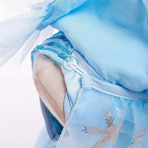 女の子用 アナ雪 エルサ 風 コスチューム ケープ付2点セット ワンピース ドレス (110cm)|shokolaballet|08