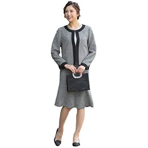 [アウニイ] セレモニースーツ レディース ママ スーツ ジャケット ワンピース ノーカラー カラー 礼服 喪服 スカート すかーと 上下セット 上下|shokolaballet