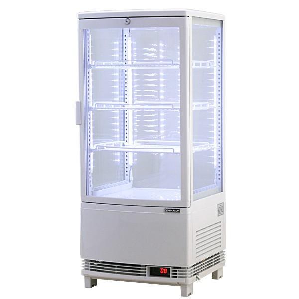 新型4面ガラス冷蔵ショーケースLED仕様 84L(前開き) [RCS-4G84SL] (北海道・沖縄・離島は送料別途お見積り致します)