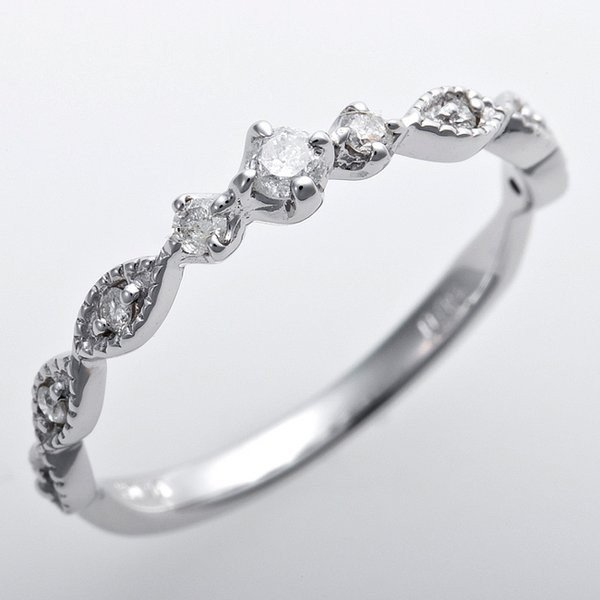 贅沢 ダイヤモンド ピンキーリング K10ホワイトゴールド 2号 ダイヤ0.09ct アンティーク調 プリンセス, Bell-Milk 147297f3