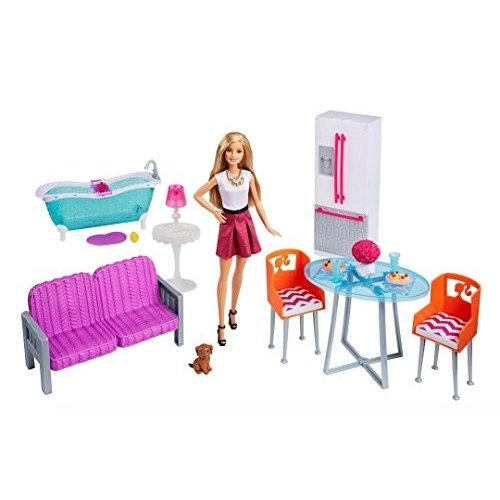バービー人形Barbie Doll & Furniture Giftset: 3 Rooms (Kitchen, Bath, Living Room)DMX68