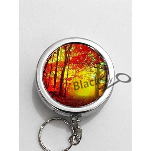 灰皿黒Key Nature Nature Series Forest Landscape Round Portable Pocket Cigarette Ashtray Ash Holder with Key Ring -2137