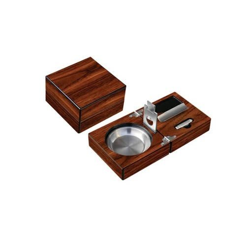灰皿High Gloss Walnut Folding Ashtray Set w/ Accessories. Include Guillotine Cutter, Punch Cutter, Cigar Bed, Stainless Ash Rese