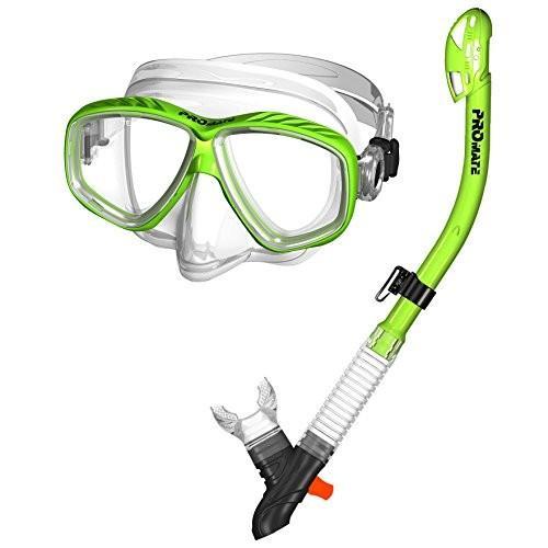 マリンスポーツ285890-Green, Snorkeling Purge Mask and Dry Snorkel Combo Set