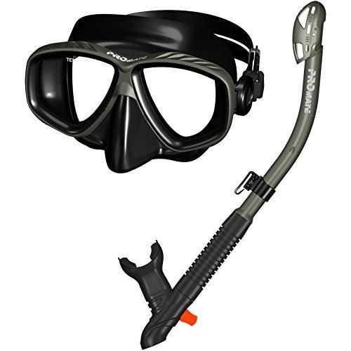マリンスポーツ285890-Ti/Bk, Snorkeling Purge Mask and Dry Snorkel Combo Set