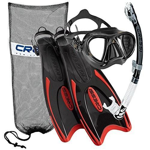 マリンスポーツCressi Nano Crystal Scuba Mask Fin Snorkel Set, RD-SMS/M | (Mens 4-7) (Womens 5-8)