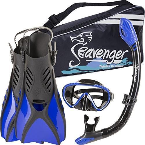 マリンスポーツSeavenger Diving Snorkel Set - (Black Silicon/Blue) - SSV-SET6-BS-B-S Small