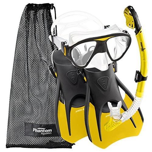 マリンスポーツPhantom Aquatics Speed Sport Signature Mask Fin Snorkel Set, Yellow, Small/SizePAQS2MFS-YL-SM Small, 4-7
