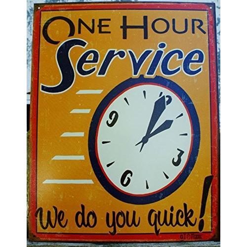 壁飾りOne 壁飾りOne 壁飾りOne Hour Service Tin Sign 13 x 16in 00f