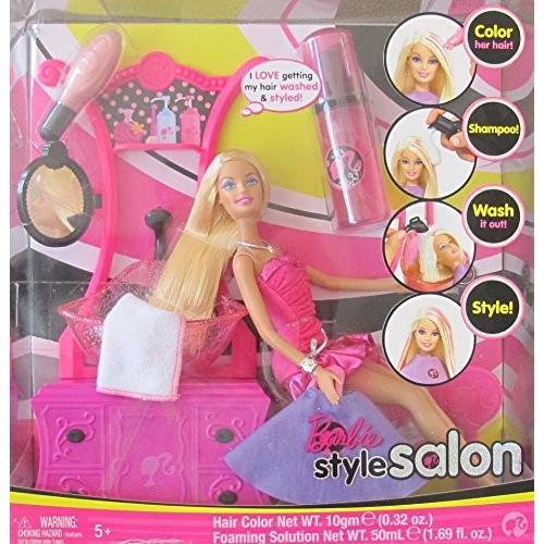バービーBARBIE Hair STYLE SALON Playset w BARBIE DOLL, SINK w 'Working' SPRAYER, COMMODE w 'Mirror', & More! (2008)