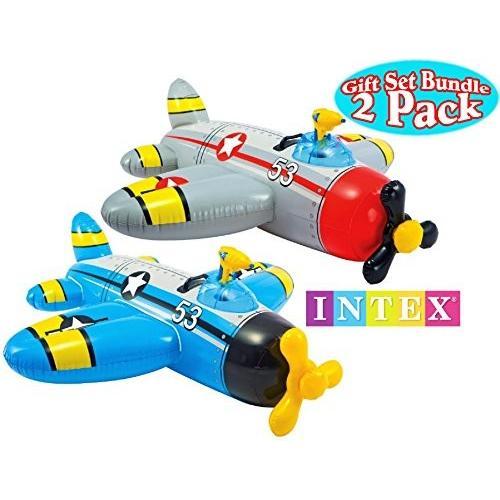 水鉄砲Intex Water Gun Squirter Fighter Plane Ride-On Pool Floats 赤/Gray & 青/黄 Gift Set Bundle - 2 Pack