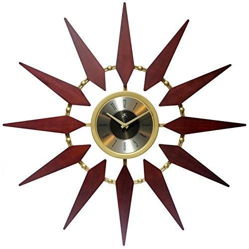 壁掛け時計Infinity Instruments Orion 30 Inch Walnut Mid-Century Modern Starburst Wall Clock