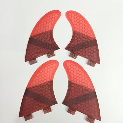 フィンUPSURF Surfing fins K2.1 FCS Honeycomb+Fiberglass Quad fins (青/グレー/赤/緑) (赤)
