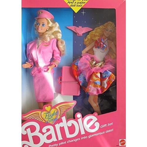 バービーBarbie FLIGHT TIME DOLL GIFT SET w Extra FASHION, BRIEF CASE & More! Change PRETTY PILOT Into GLAMOROUS DATE! (1989)