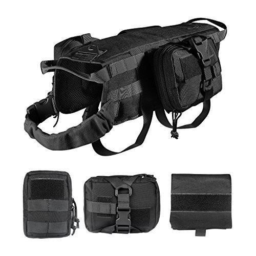 海外正規品Feliscanis Tactical Dog Vest Training Molle Harness with 3 Detachable Pouches Black SMedium