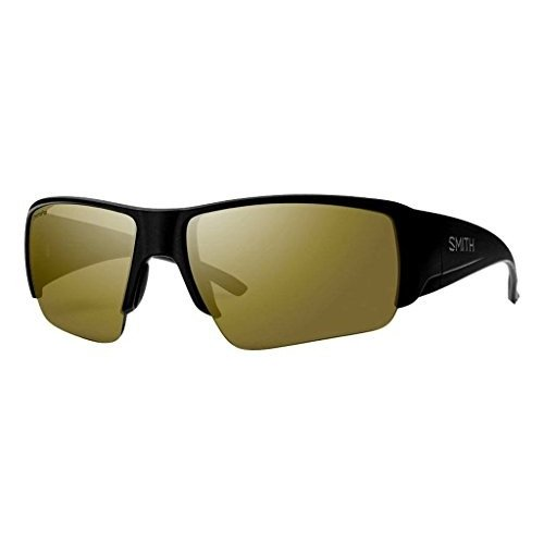 スミスSmith Captains Choice ChromaPop+ Polarized Sunglasses, Matte 黒, Bronze Mirror Lens