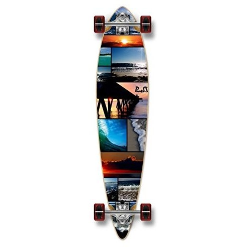 スケボーYocaher Beach Series Complete Pintail Skateboards Longboard Cruiser w/黒 Widow Premiu01060P-Seaside-40