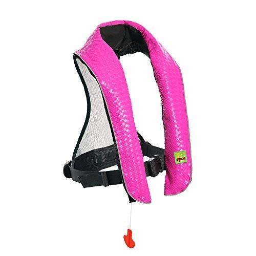 フロートEyson Inflatable Life Jacket Inflatable Life Vest Deluxe Leather PFD Manual (ピンク)