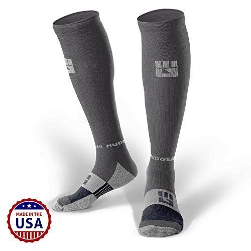 並行輸入品MudGear Premium Compression Socks - Mens & Womens Running Hiking Trail - 1 Pair (GraySmall