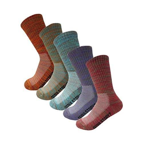 並行輸入品SEOULSTORY7 5Pack Women's Multi Performance Cushioned Hiking/Outdoor Crew Socks MultiMedium(Women shoe8-10US)