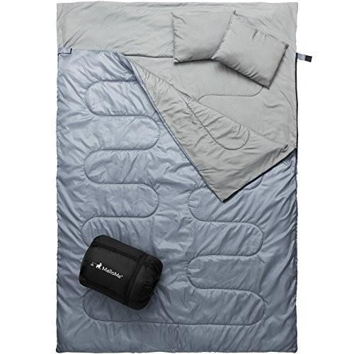 キャンプMalloMe Double Camping Sleeping Bag - 3 Season Warm & Cool Weather - Summer, Spring, FalDouble