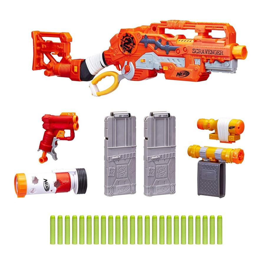 ナーフScravenger Nerf Zombie Strike Toy Blaster with Two 12-Dart Clips, 26 Darts, Light, Barrel Extension, X 40Mm, Stock, 2-Dar