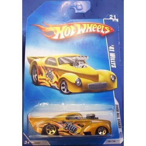 マテルHot Wheels '41 Willys ゴールド, Flamz, 5 Spoke - 1/64 #21/36 2008 All Stars