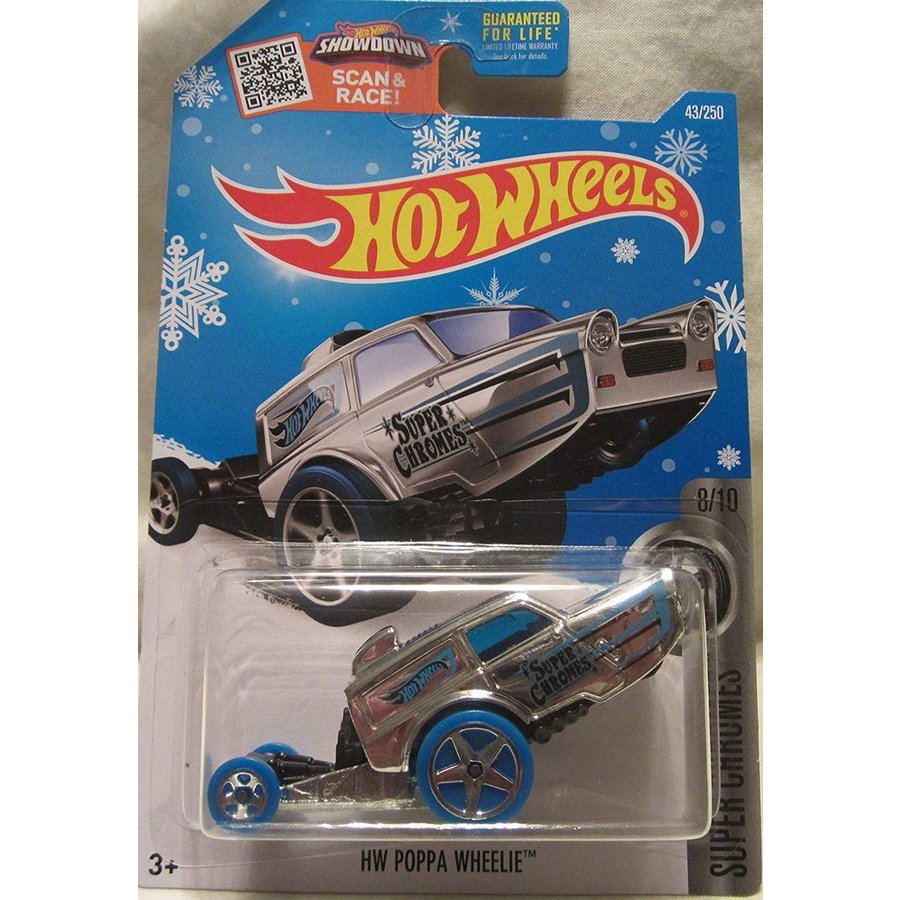 マテルHot Wheels 2016 Super Chromes HW Poppa Wheelie 43/250, Chrome (Snowflake Card)