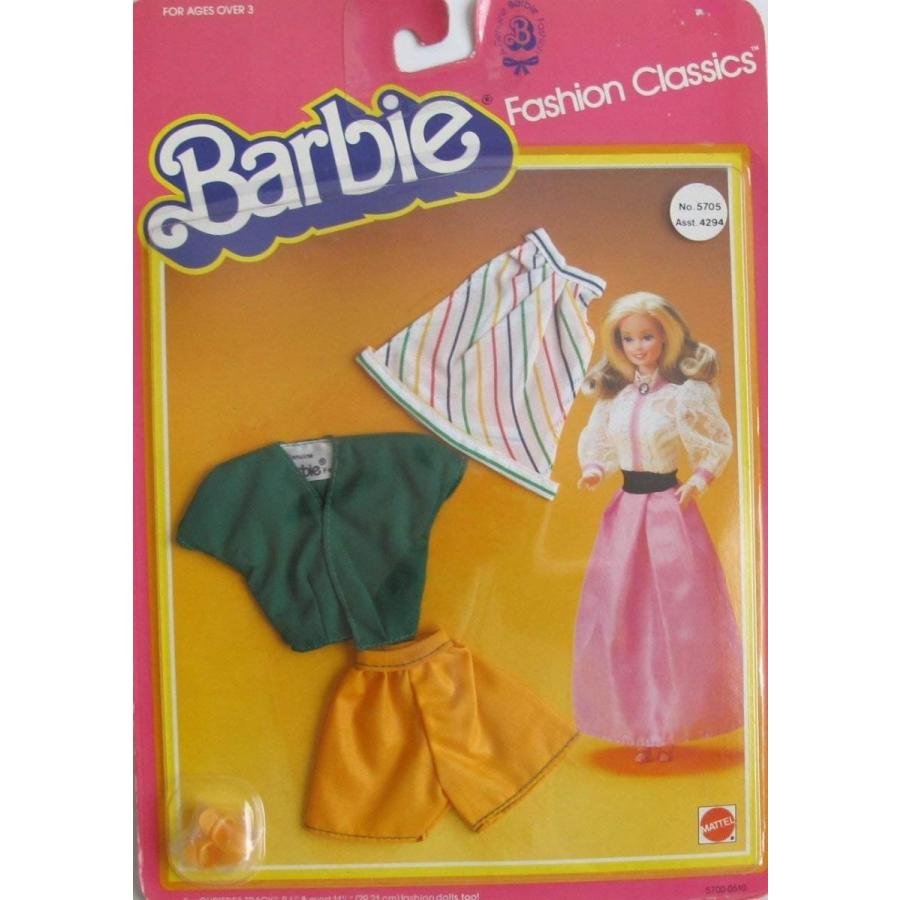 バービーBARBIE FASHION CLASSICS Fashions w SKIRT, TOP, Pair of SHORTS & SHOES (1983 Mattel Hawthorne)