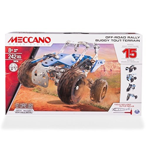 知育玩具MECCANO Erector, Off-Road Rally, 15 Vehicle Model Building Set, 242 Pieces, for Ages 8 a