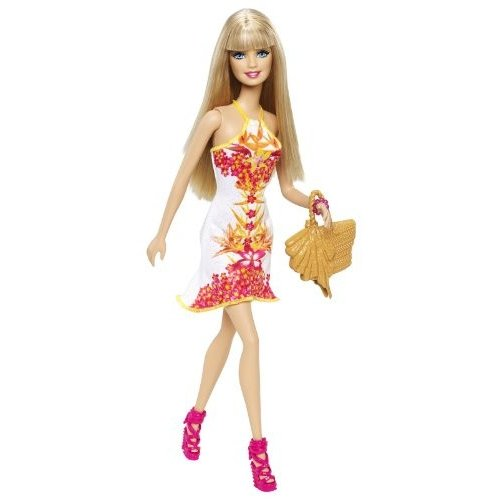 バービー人形Barbie Fashionista Barbie Doll, 白い Floral DressBHY13