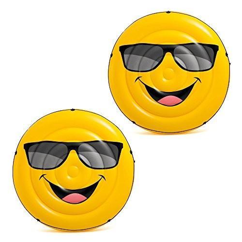 フロートIntex Giant Inflatable Emoji Cool Guy Island Lounger Ride On Pool Float (2 Pack)
