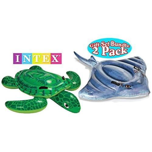 フロートIntex Pool Floats Sea Turtle Ride-On & Stingray Ride-On Gift Set Bundle - 2 Pack