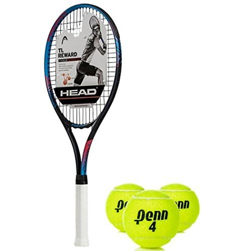 ラケットHEAD Ti Reward Oversized 16x19 NanoTitanium 黒/青/赤 Tennis Racquet (4 1/4 Grip) K