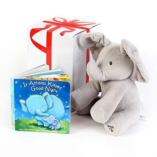 """ガンドGUND BABY ANIMATED FLAPPY THE ELEPHANT PLUSH TOY with """"IF ANIMALS KISSED GOODNIGHT"""" Book, For Birthdays , Holidays An"""
