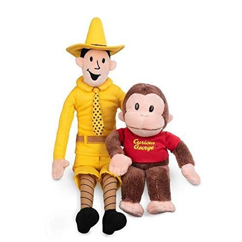 ガンドGUND Plush Stuffed Doll The Man with The 黄 Hat and Curious George Bundle | Big, Soft, Hugging Toy for Babies, Childr
