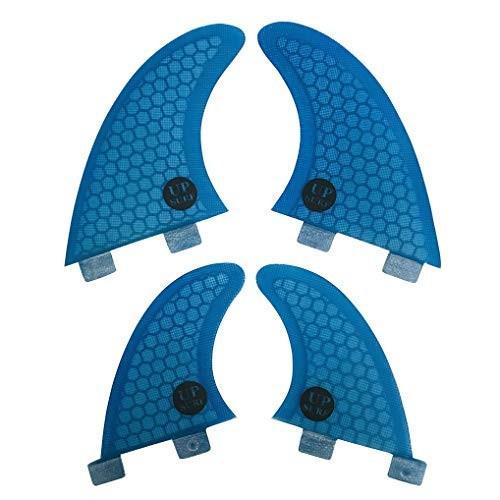 フィンUPSURF FCS Quad Fin G3+GL Orange Blue Honeycomb+Fiberglass (Blue Logo)