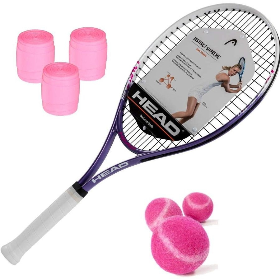 ラケットHEAD Ti.Instinct Supreme Women's/Junior Girl's Tennis Racquet Kit with ピンク Tennis Balls