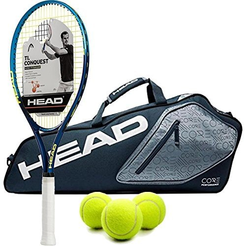 ラケットHEAD Ti.Conquest Pre-Strung Tennis Racquet (Grip Size 4 1/2) bundled with a Core 3 RacquGrip Size 4 1/2